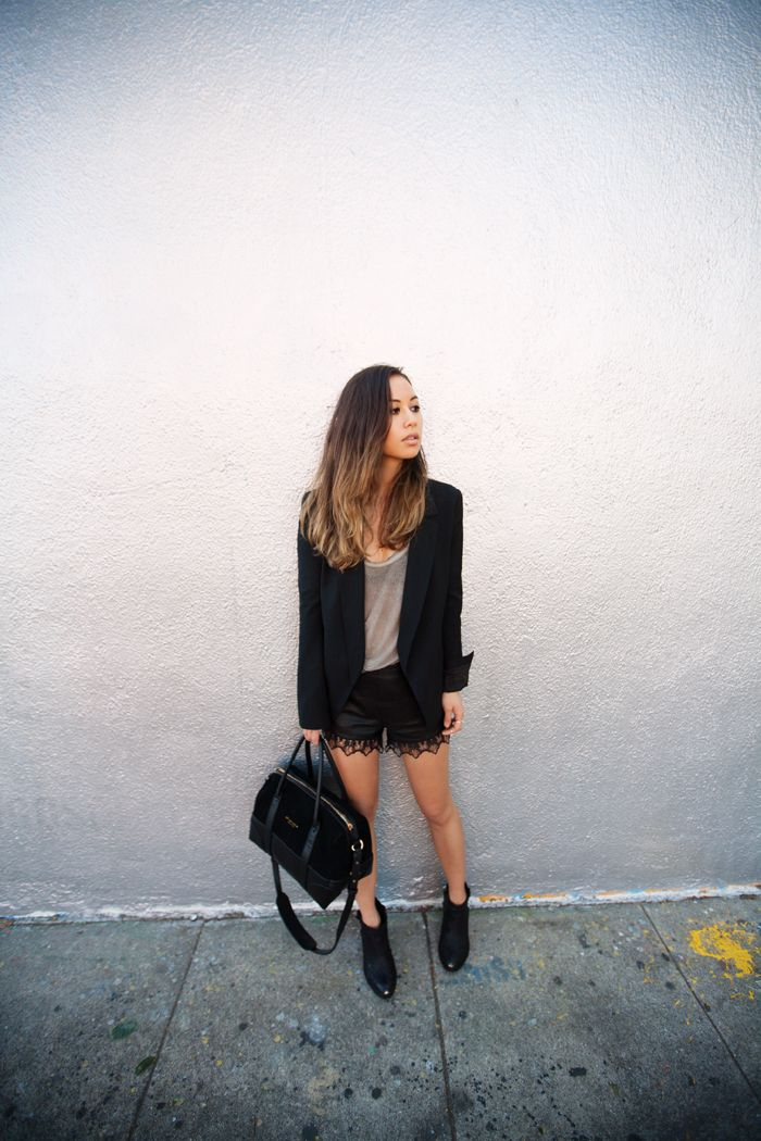 chole purse - Rumi Neely in Theyskens' Theory blazer, Brandy Melville tank, Rag ...