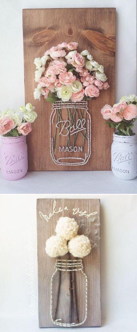 Basteln Sie ein Einmachglas String Art mit Holz, Garn und Kunstblumen – 16 Bildperf … #WoodWorking