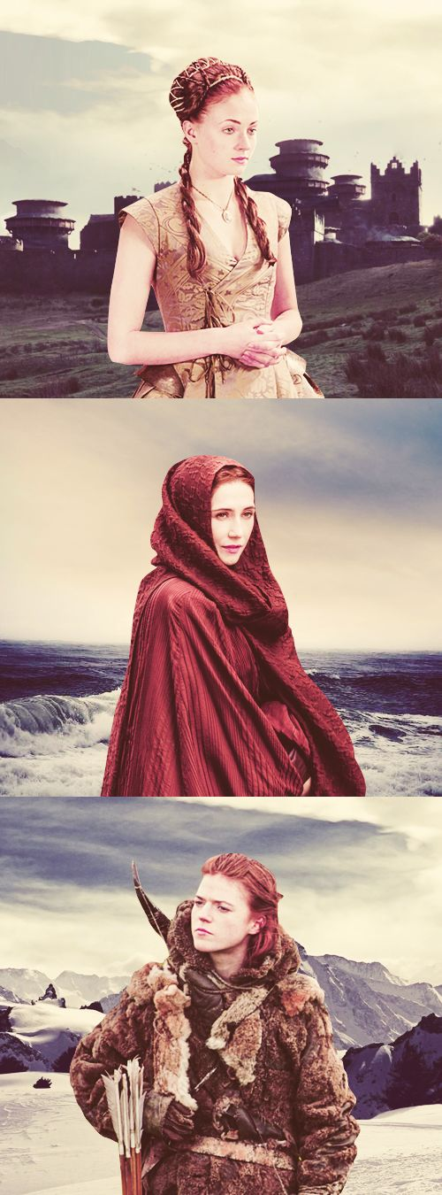 Kissed by fire : Sansa, Melisandre and Ygritte. These three women had something with Jon Snow : one was his sister, the second was the one helping him to get Arya back and the last one was his lover.