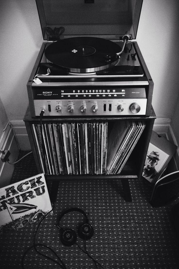 Vintage vinyl record cabinet with Sony turntable and Grado headphones