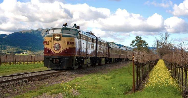 Trem do Vinho de Napa Valley. Em três horas você vai de Napa a Santa Helena, na Califórnia, EUA, curtindo a atmosfera das vinícolas