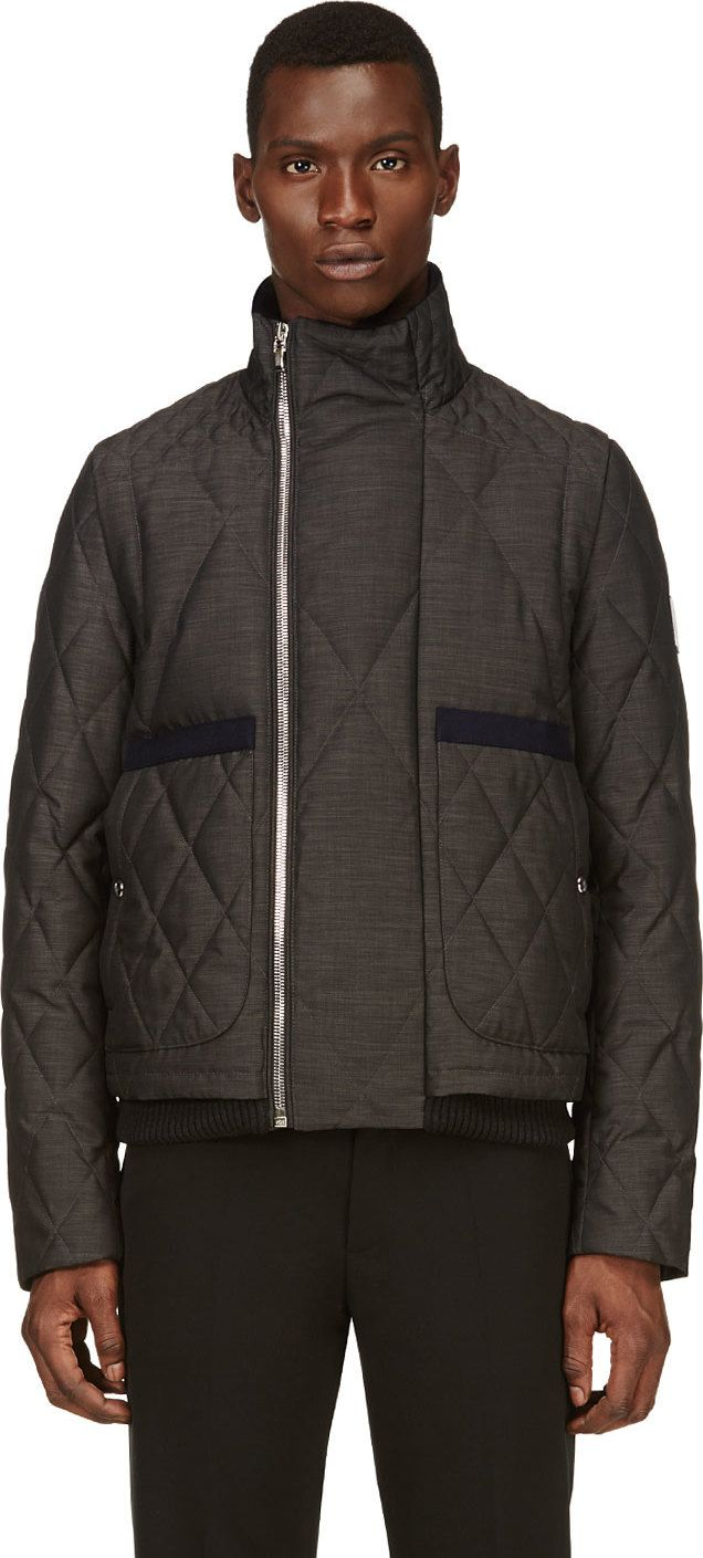 Moncler Gamme Bleu: Grey Coated Quilted Down Jacket | SSENSE