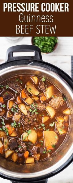 Pressure Cooker Guinness Beef Stew! All the flavor of a slow-cooked stew, done in a fraction of the time. Made with beef stew meat, onion, celery, carrots, parsnips, and of course, Guinness. So good on a cold winter day. #dinner #PressrueCooker #InstantPot #beefstew #beef