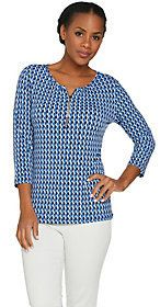 As Is Susan Graver Printed Liquid Knit Top with Zipper