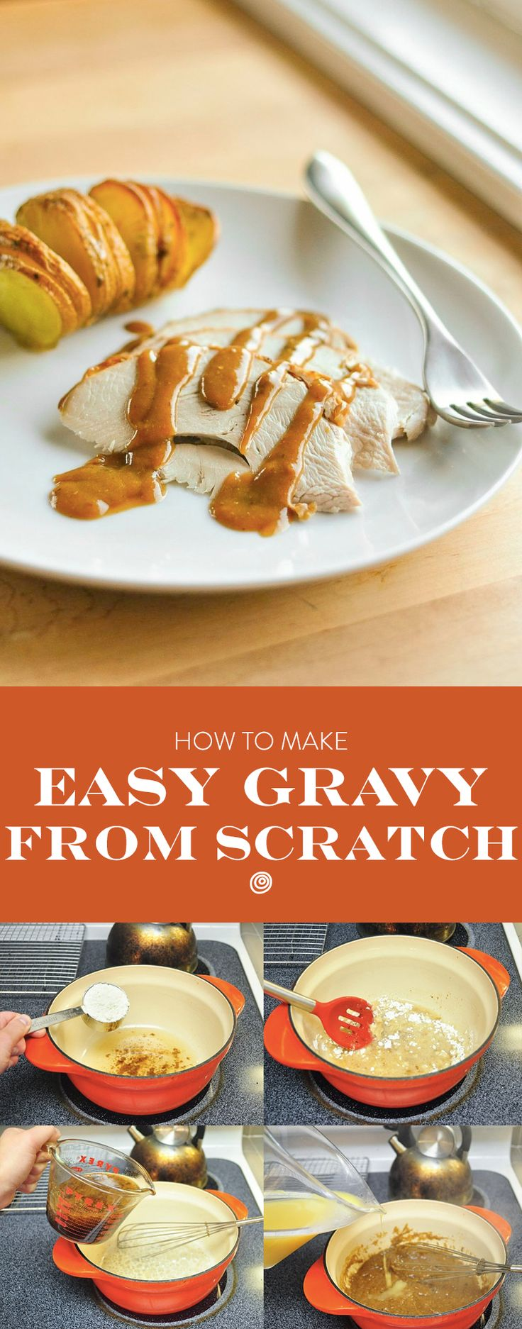 How To Make Brown or White Gravy From Scratch: The Simplest, Easiest Method. This recipe can be done with or without drippings. Great with mashed potatoes or roasted turkey or chicken on thanksgiving - or just whenever! Step by step instructions with photos so this tutorial is great for beginners or someone who is hosting a holiday party for the first time.
