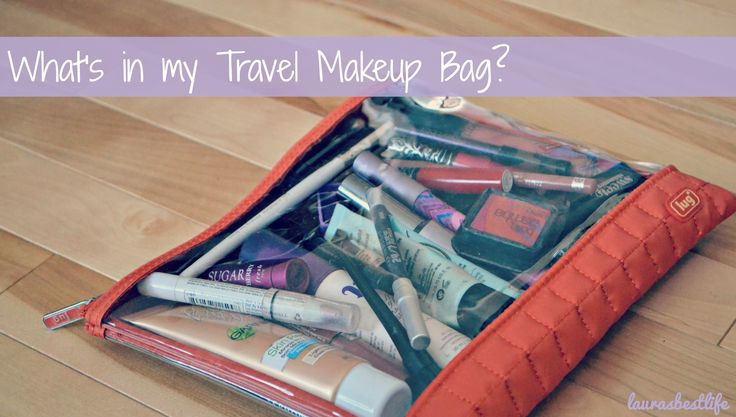What's in my travel makeup bag? Lots of high & low end goodies!   laurasbestlife.com