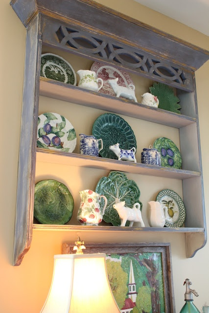 Recycled, repainted shelf, majolica, transfer-ware, cow creamers, leaf plates
