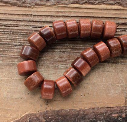 Для украшений ручной работы. Ярмарка Мастеров - ручная работа. Купить Авантюрин 14 мм шайба коричневый бусины для украшений. Handmade.