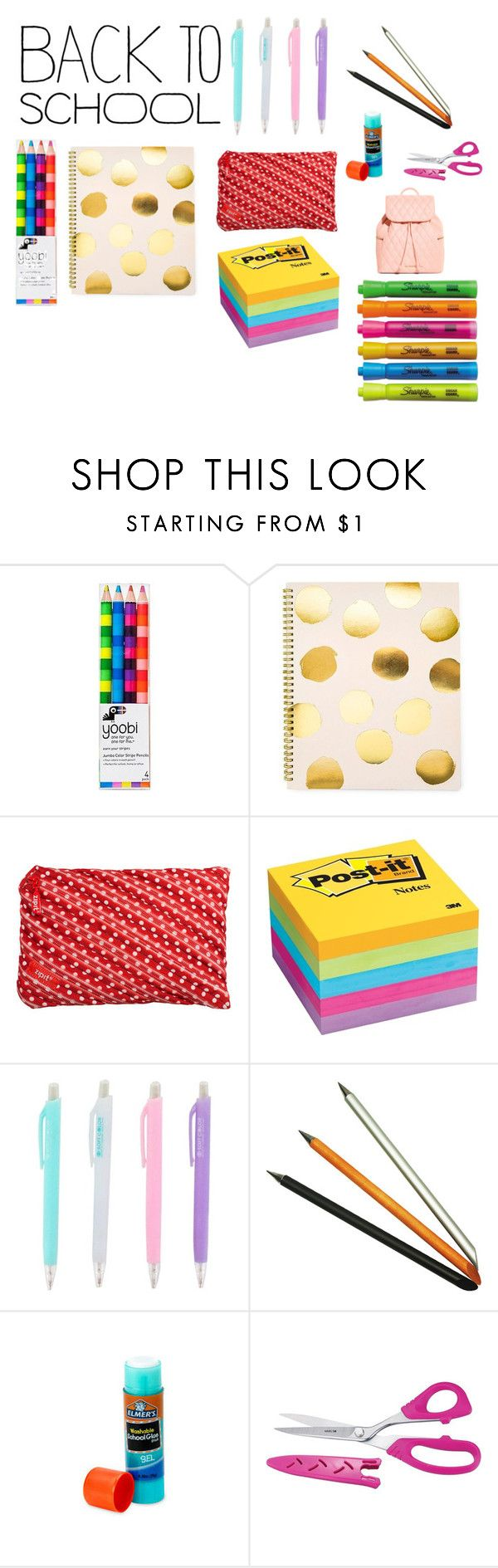 """""""school supplies"""" by vapitt ❤ liked on Polyvore featuring interior, interiors, interior design, home, home decor, interior decorating, Yoobi, Sugar Paper, ZIPIT and Post-It"""