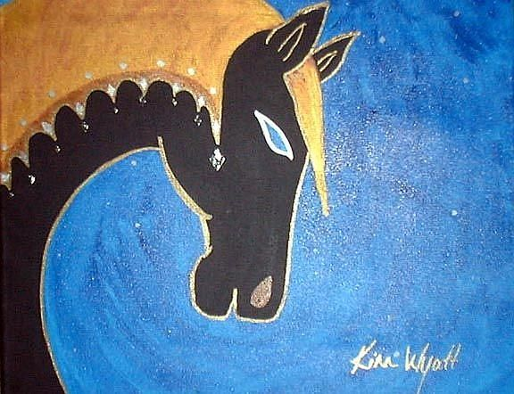 Art: The Black Horse  by Artist Kim Wyatt