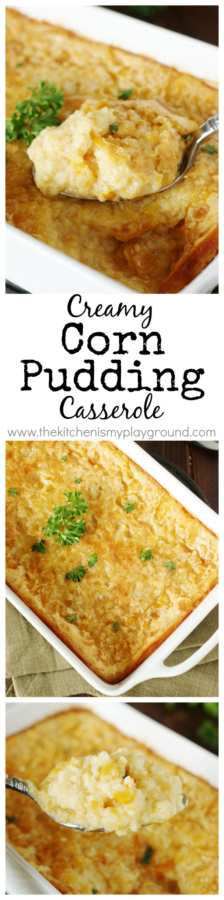 Corn Pudding Casserole ~ creamy & comforting, compliments of Hilda Crocketts Chesapeake House!  www.thekitchenismyplayground.com (Fall Recipes Casserole)