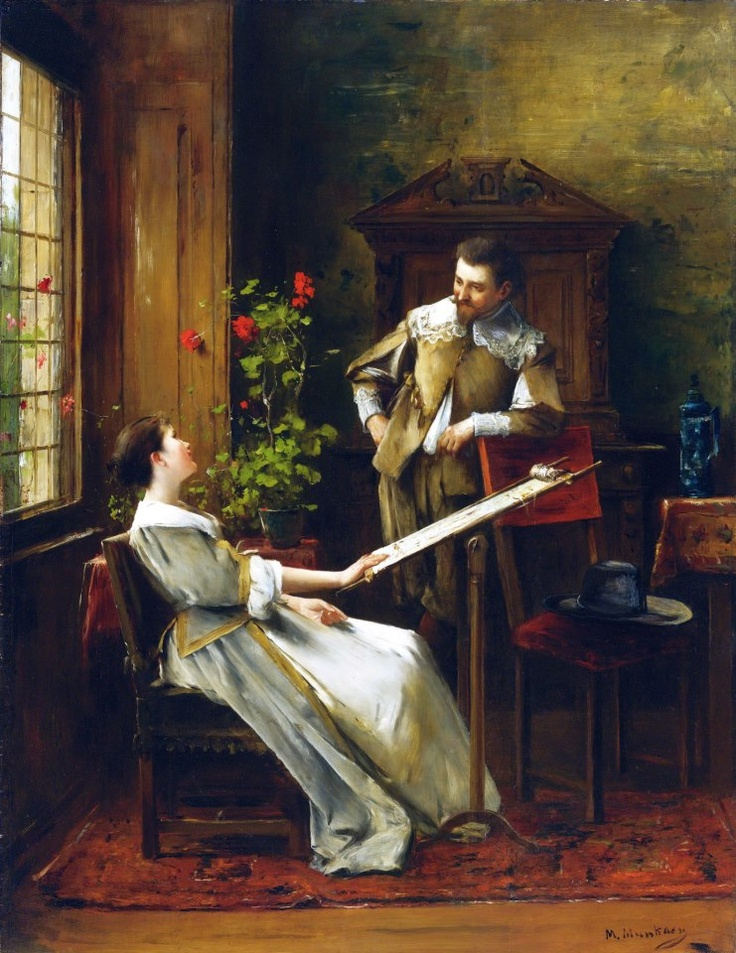 Mihály Munkácsy (Hungarian painter) 1844 - 1900  Flirt (La Broderie), s.d.  oil on panel  46 x 35 1/4 in. (116.8 x 89.5 cm.)