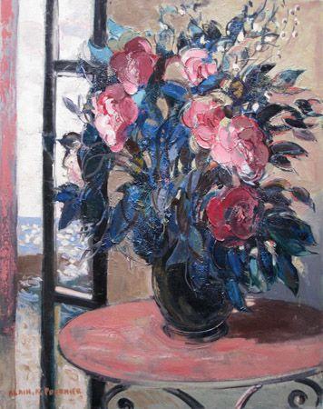 'Bouquet sur une Table' Oil on Canvas: 92 x 73 cm Signed by Alain Fournier (1931 – 1983)