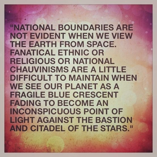 Carl Sagan. In reality there are no boundaries. So why don't we all just love each other? These petty arguments and these boxes we put ourselves are insignificant in the long run.