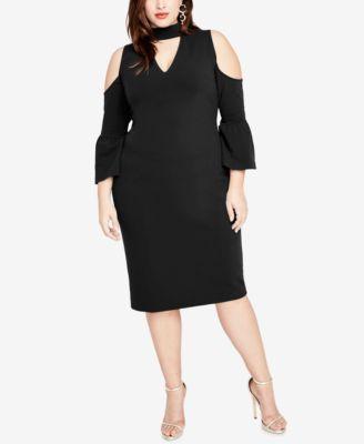 RACHEL Rachel Roy Trendy Plus Size Mock-Neck Cold-Shoulder Dress | macys.com