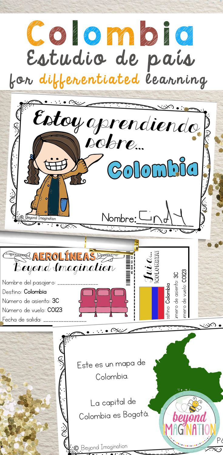 Colombia Fun Fact country study booklet in Spanish. Perfect to use for an around the world unit, an international day, an international festival, a social studies unit, a cultural school project, a geography project, a cultural day, a cultural fair, a field day, or a multicultural day. #colombia #country #booklet #tpt #spanish