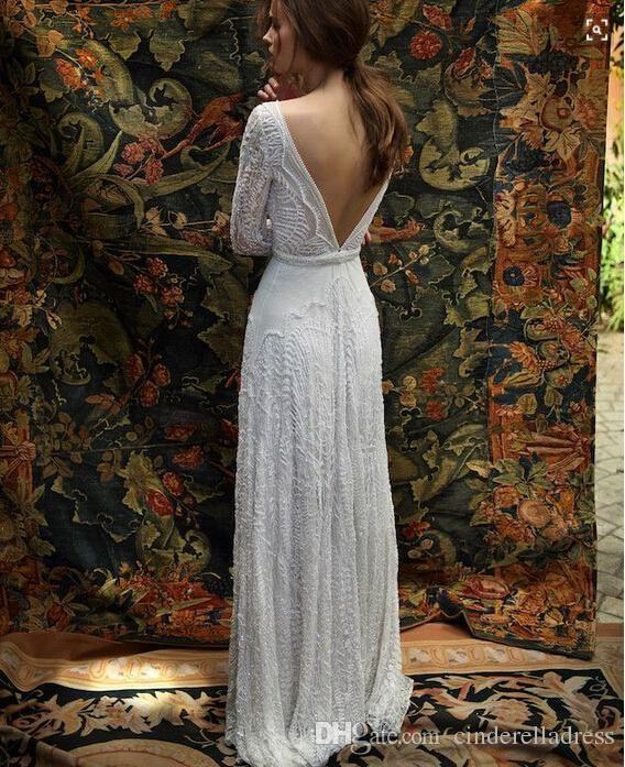 2017 New Romantic Bohemian Lace Backless Wedding Dresses V neck Long Sleeves Garden Beach Bridal Gowns Fairy Sweep Train 1970s Hippie Boho