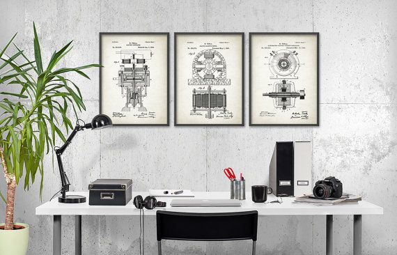 Tesla Patent Prints Set Of 3 - Nikola Tesla Engineering Invention Patent - Tesla Electric Motor - Science Student Gift Idea  This Tesla patent poster set is printed using high quality archival inks on archival paper with a smooth matte finish. A fantastic gift or a fabulous addition to your home!  This set contains... Electromagnetic Motor Patent Electric Generator Patent Alternating Electric Current Generator Patent  The size indicates the size of each individual print in the set. So, for…