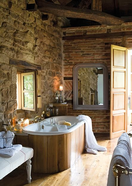 rustic spa bathroom. Rustic spa bath in chestnut  stone and exposed brick wall w herringbone accent band Take out the make it all s even better 78 best Ba os images on Pinterest Bathroom Ideas para Chalets