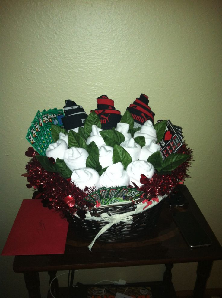 Sock and boxer bouquet for valentines day:) with a few lottery tickets!