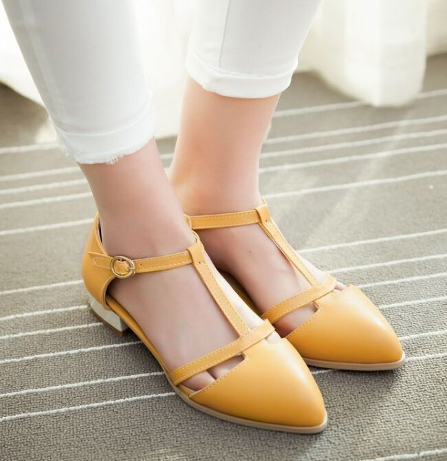 Low Heel Womens T Strap Lolita Casual Shoes Buckle Plus Size Mary Janes Pumps