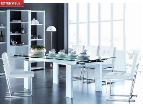 Table à manger extensible DIVA verre trempé - 6 à 8 couverts prix promo 369,99 € TT C au lieu de 649.00 €