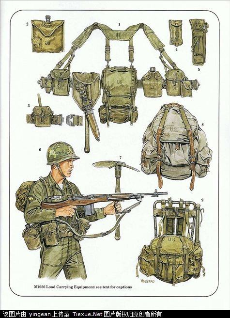 U.S. Army combat equipment, the M1956 combat of the Vietnam war equipment
