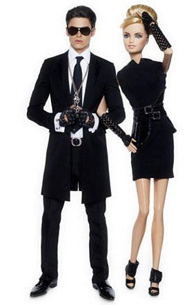 Karl Lagerfeld with model Baptiste Giabiconi as Ken & Barbie for a 50th anniversary exhibition at Parisian Boutique Colette