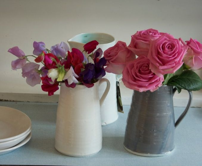 Rachel-Dormer-gray-white-pitchers-vases-pink-purple-flowers   Remodelista: Remodelista Pintowin, Inspirational Images, Wedding Flowers, Beautiful Flowers, Wedding Pinspiration, Flowers The Simple, Centerpieces, Other Colored Flowers, Sweet Peas