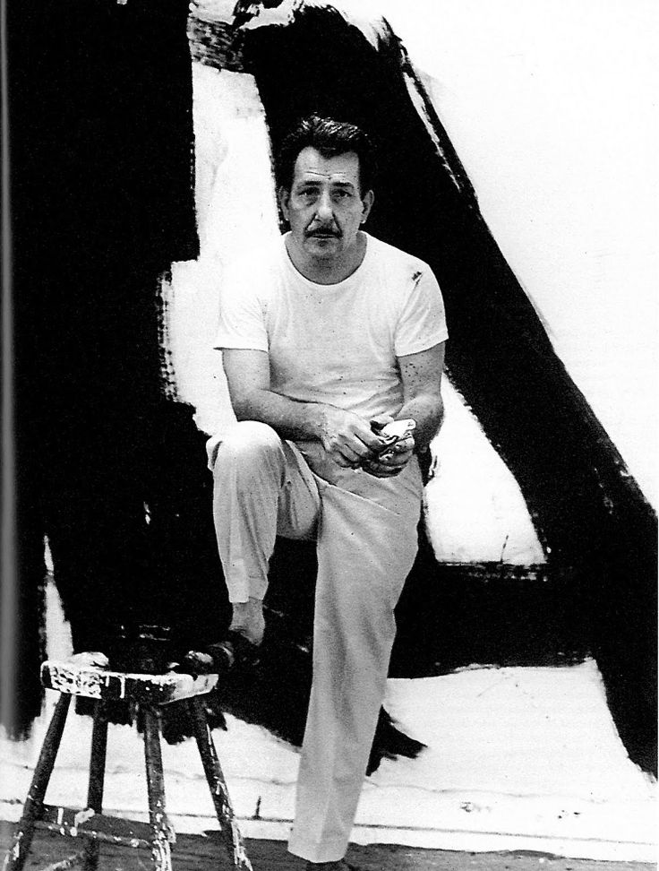 """Franz Kline """"(23 May 1910 – 13 May 1962) Painter born in Pennsylvania, associated with Abstract Expressionist movement of the 1940s and 1950s. Kline, along with other action painters like Jackson Pollock, Willem de Kooning, Robert Motherwell and Lee Krasner, as well as local poets, dancers, and musicians came to be known as the informal group, the New York School."""