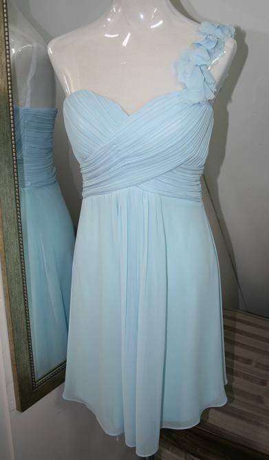 BM055 knee length, chiffon, one shoulder  bridemaid / cocktail dress. $149.00 to buy and $99.00 to hire