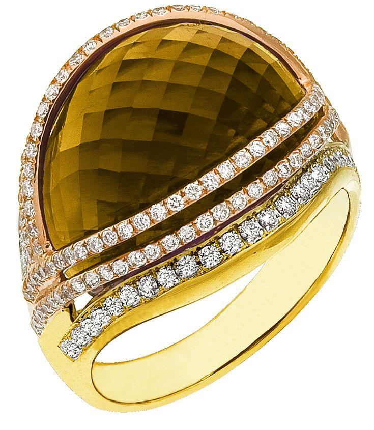 Diamond Ring, .71 Carat Diamonds 15.17 Carat Topaz on 14K Rose & Yellow Gold
