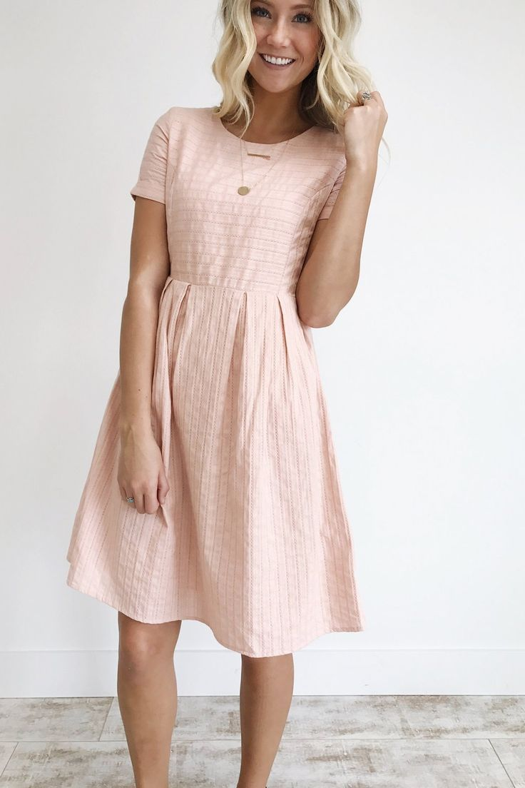 ffe9fd4076c Blush pink short sleeve textured dress with a line skirt for summer modest