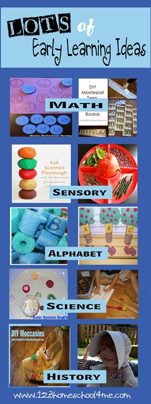 Lots of fun educational ideas for #homeschool and #preschool - math, history, sensory, science, alphabet and more!