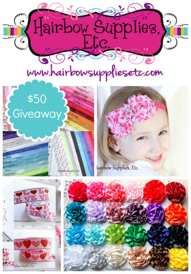 As I'm sure you've noticed, I LOVE making cute headbands for Miss D! {see here and here.} So I was excited when Hairbow Supplies Etc asked to send me some elastic, ribbon, and flowers for Valentine headbands. I whipped up these cute Valentine Headban