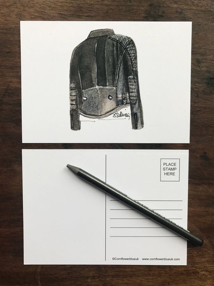 A personal favourite from my Etsy shop https://www.etsy.com/uk/listing/526734302/biker-jacket-illustrated-postcard-print