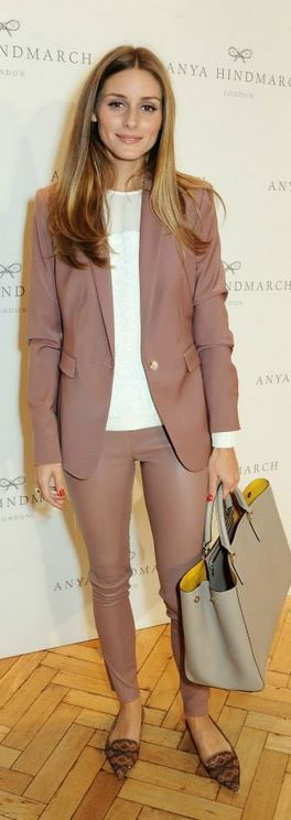 Who made Olivia Palermo's pink leather pants, dusty rose blazer, and nude handbag?