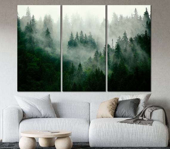 Foggy Forest Wall Art Forest Wall Decor Mountain Forest Canvas Etsy In 2020 Forest Wall Decor Forest Wall Art Foggy Forest