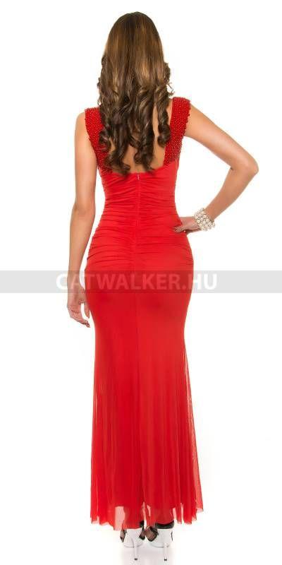Estélyi ruha gyöngyökkel K9132 - piros