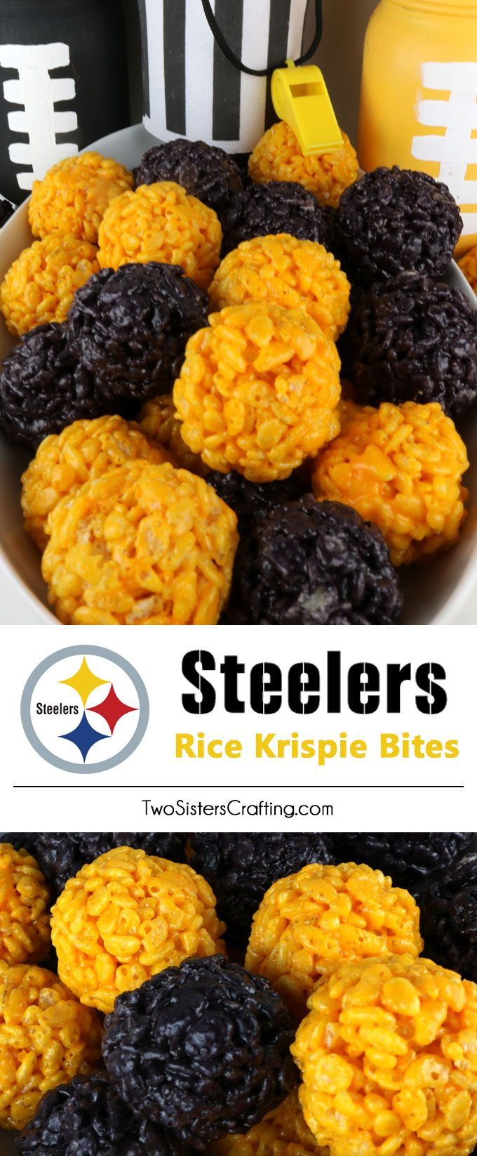 Pittsburgh Steelers Rice Krispie Bites -  Yummy, bite-sized balls of crunchy, marshmallow-y delight.  This is a Football dessert that is easy to make and even better to eat.  These colorful and festive Pittsburgh Steelers Treats are great for a game day football party, an NFL playoff party, a Super Bowl party or as a special snack for the Pittsburgh Steelers fans in your life. Go Steelers!  Follow us for more fun Superbowl Food Ideas.