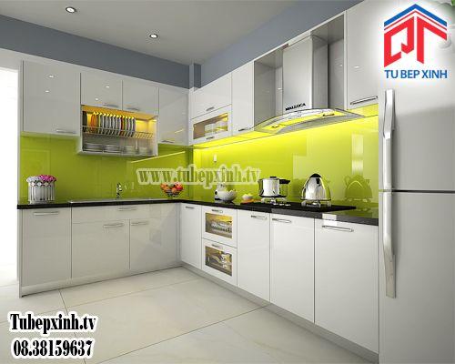 Tu bep- tủ bếp hiện đại TB006G Tubepxinh.tv chuyên thiết kế tủ bếp, tủ bếp hiện đại, tủ bếp gỗ,... Mẫu tủ bếp hiện đại với thiết kế hình chữ L tông màu trắng sang trọng.
