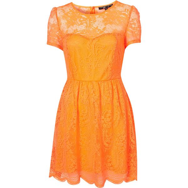 Petite Neon Lace Flippy Dress ($45) ❤ liked on Polyvore