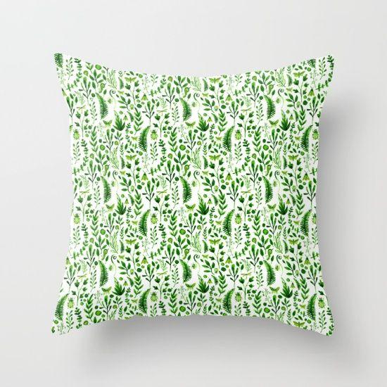 Flora and Fauna seamless pattern Throw Pillow