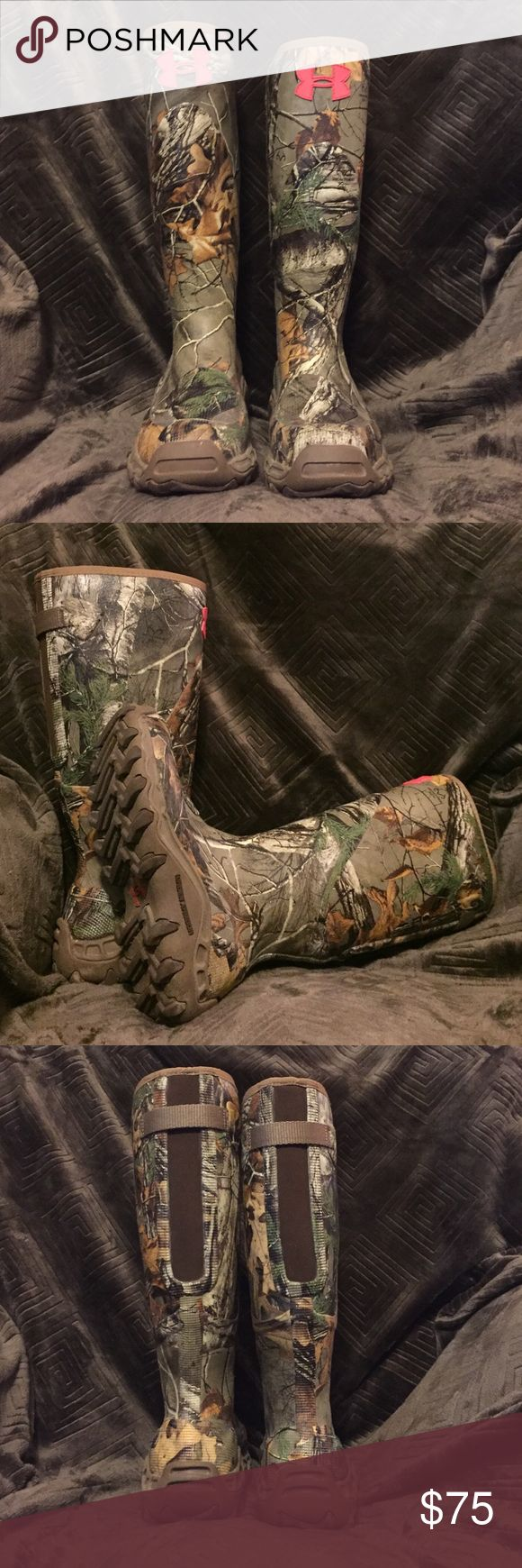 Under Armour Womens Haw'madillo Realtree Xtra GOOD CONDITION. Bought these as last pair and ended up being too small for me. Great boot for hiking and turkey hunting. Waterproof and would be comfortable if right size. Perfect for any lady looking for UA hunting gear! Under Armour Shoes Winter & Rain Boots