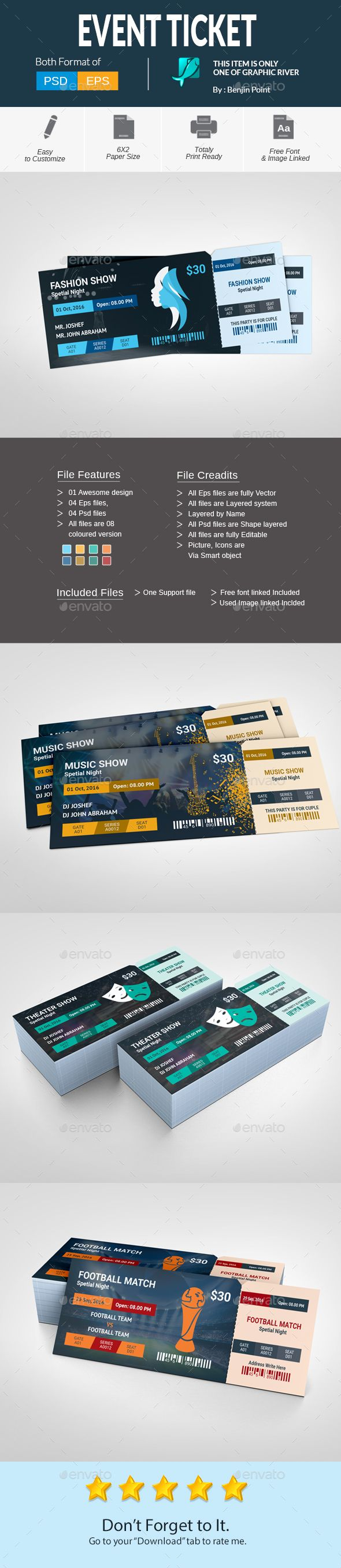 Event Ticket  — PSD Template #nightclub #club ticket • Download ➝ https://graphicriver.net/item/event-ticket/18100746?ref=pxcr