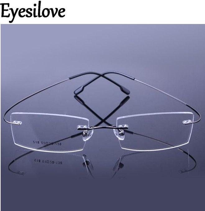 19b7b6a7e3 Eyesilove 9 Colors ultra-light Optical glasses frame Memory Titanium Alloy Rimless  optical Frame for