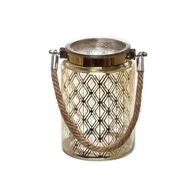 Mercury Glass Lantern with Rope Handle Gold (10cmDx15cmH)