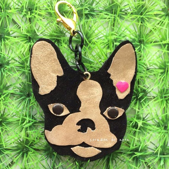 Suede and lame frenchie clip on keychain by corazondeneon on Etsy