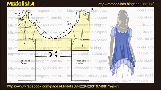 Modelagem de blusa de pontas nas laterais. ModelistA: MALHA RADIOSA