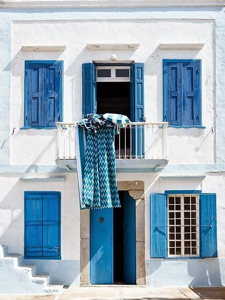 white + blue love love love the shutters, door